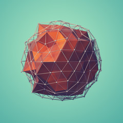 triangulated sphere on green background