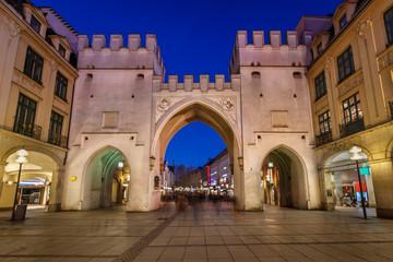 Karlstor Gate and Karlsplatz Square in the Evening, Munich, Germ