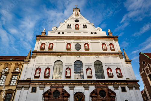 Facade of Saint Michael Church in Munich, Bavaria, Germany