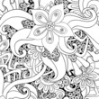 Vector floral decorative background. Black and white.