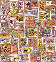 Seamless pattern. Sampler doodle flowers, leaves, hearts.