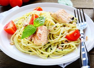 tasty spaghetti with chunks of fish