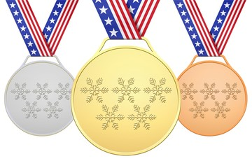 USA golden medals with snowflakes