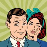 Man and woman love couple  in popart comic style poster