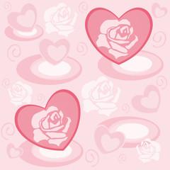 Herzen mit Rosenblüten