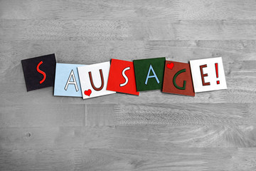 Love Sausages, sign series for meats, food and cooking.