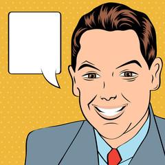 smiling businessman, pop art style illustration