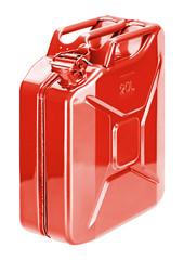 Red fuel storage can (jerry can)