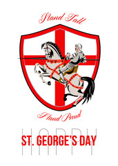 Stand Tall Happy St George Day Retro Poster