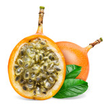 Granadilla. Whole and a half passion fruit with leaves isolated