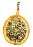 Granadilla. Half of passion fruit isolated on white