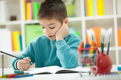 Little boy at home studying