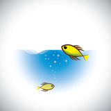 marine life vector concept - colorful fish fish in ocean.