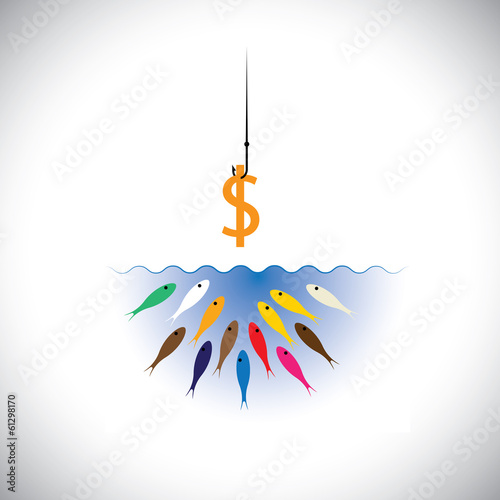 fish hook with dollar as bait for fishing- vector concept