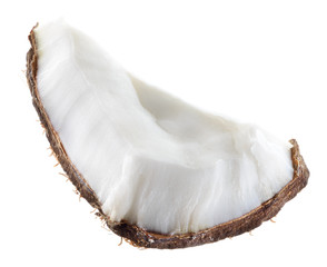 Coconut. Fruit chunk on white background
