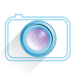 Lens, camera icon, blue. Vector