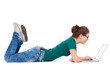 Teenage girl lying down laptop