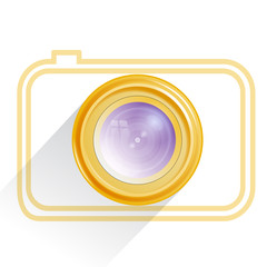 Lens, camera icon, yellow. Vector