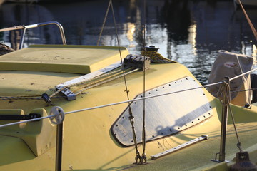 details of a yellow sailboat