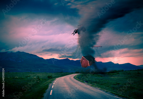 Fotobehang Onweer tornado next to road