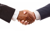 Handshake between african and a caucasian business man, isolated