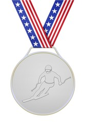 USA silver medal with skier
