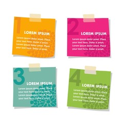 Set of post it stick notes papers, vector illustration