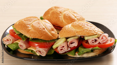 sandwich with salami cheese and salad
