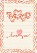 Romantic card with doodle hearts