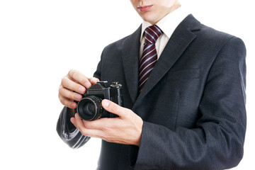 Businessman with camera