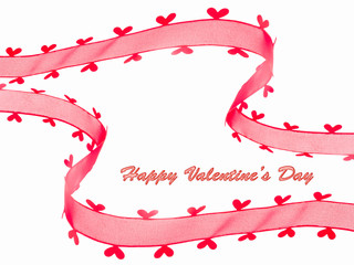 Red ribbon with heart for Valentine's day card