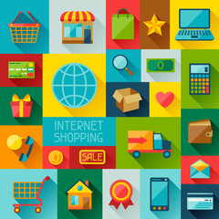 Background with internet shopping icons in flat design style.