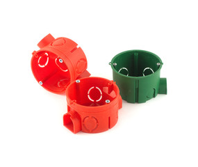 Color сontainers for electric wire mounting isolated closeup