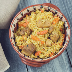 Pilaf with pork, view from above