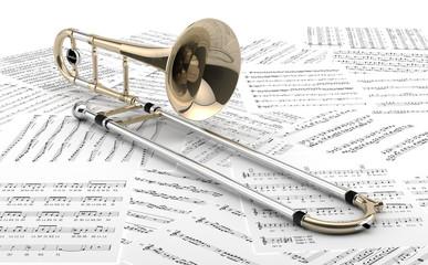 Trombón sobre partituras