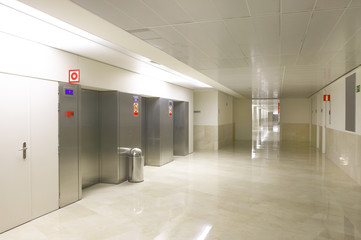 Elevators on Hospital entrance and corridor