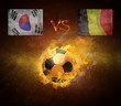 Hot soccer ball in fires flame, friendly game Korea and Belgium
