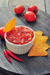Bowl of salsa with tortilla chips