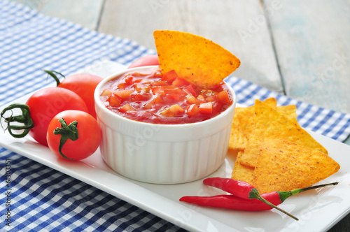 Bowl of salsa with tortilla
