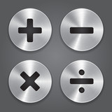 Metal Icons Math Symbols.