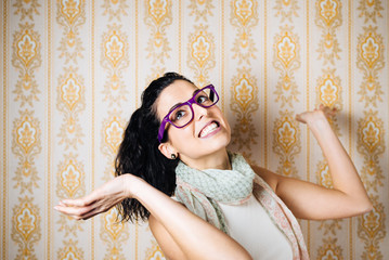 Funny woman wearing purple glasses