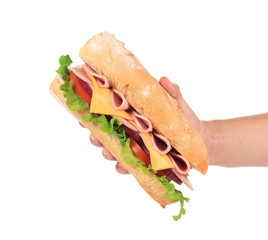 French baguette sandwich in hand.