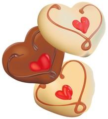 Three Chocolate Hearts
