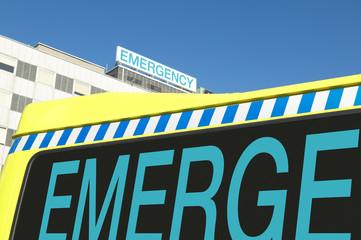 Emergency sign on hospital and ambulance