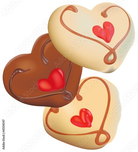 Three Chocolate Hearts