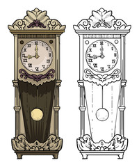Old clock drawing, colored and outline