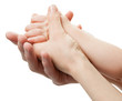 Three hands of the family on white background. Unity, support, p