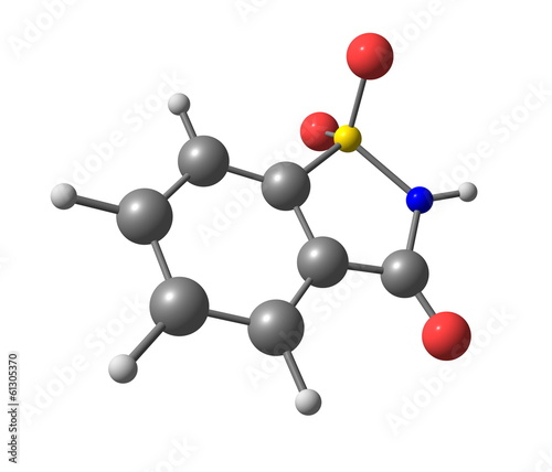 Saccharin molecular structure on white background