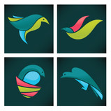 vector collection of colorful funny birds icons