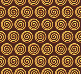 Gold spiral vector seamless background